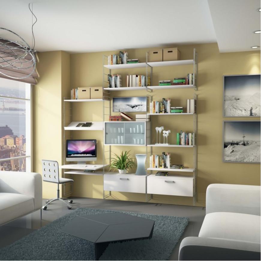 Libreria a parete con scrittoio e contenitori Link L01 Maconi ...