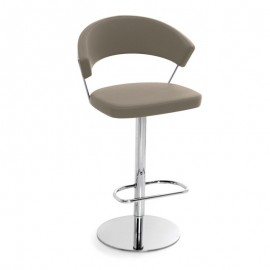 Sgabello alto girevole in pelle Connubia Calligaris New York Leather