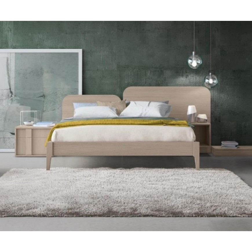 Letto matrimoniale in legno con comodino incorporato Colombini Casa Duo Plus