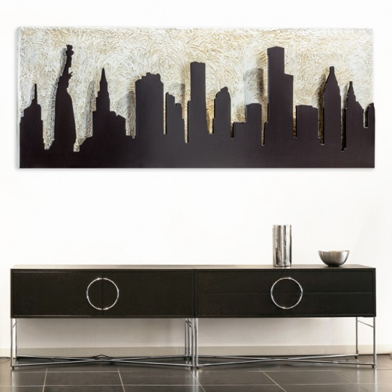 Quadro sagomato in rilievo con foglia argento Pintdecor Manhattan