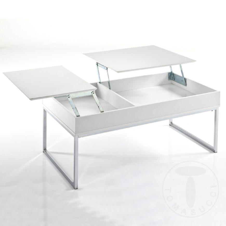 Tavolino da salotto con top alzabile e vano contenitore Celinda